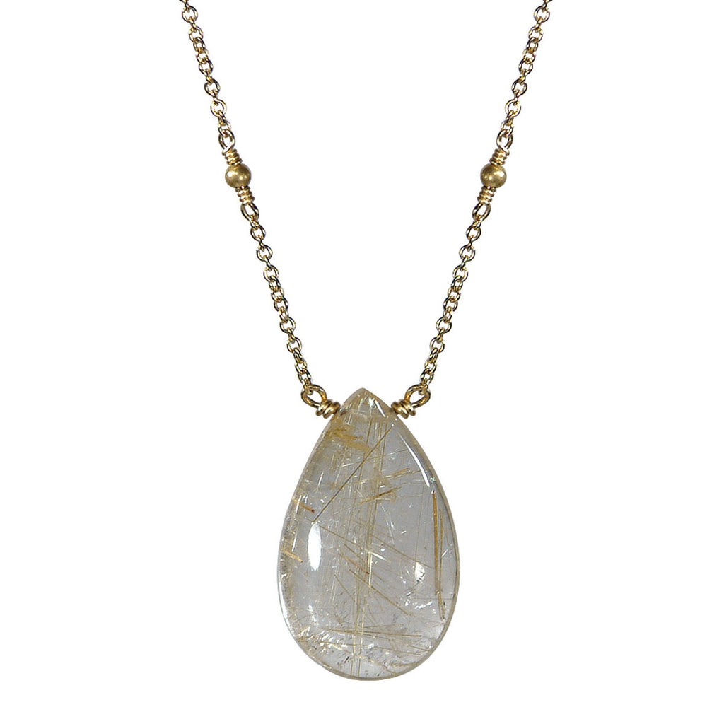 18K Gold Rutilated Quartz Drop Pendant
