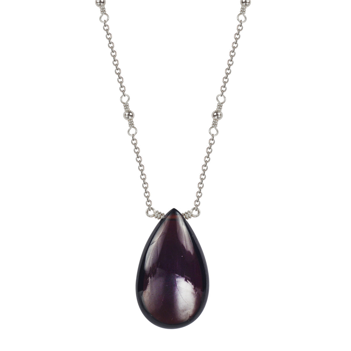 Sterling Silver Garnet Gemstone Drop Pendant