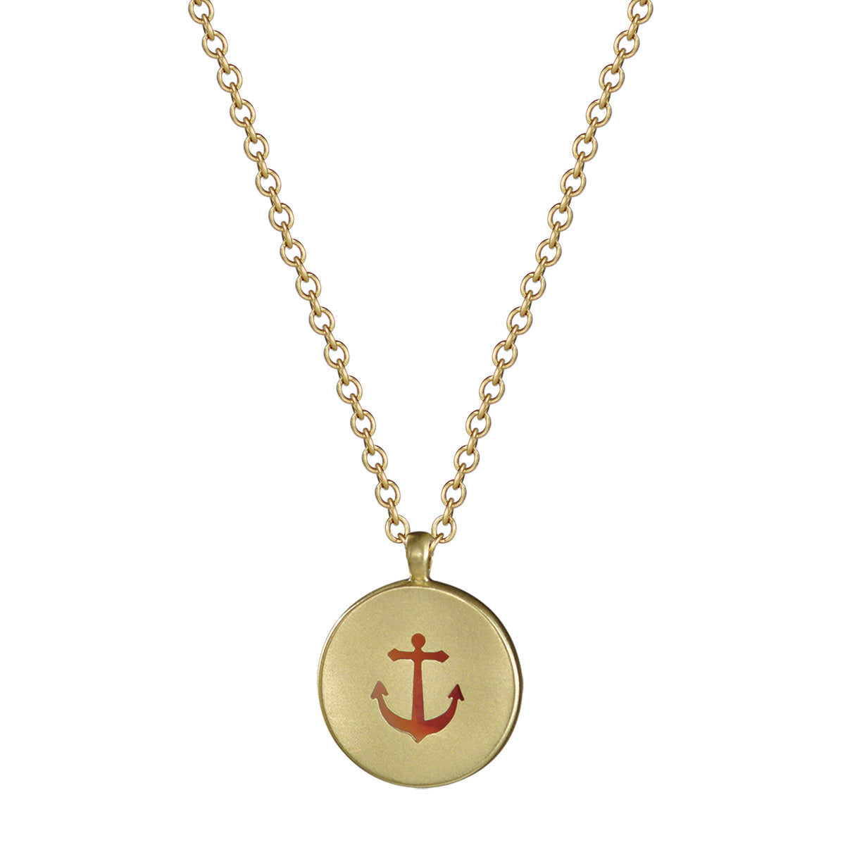 18K Gold Anchor with Carnelian