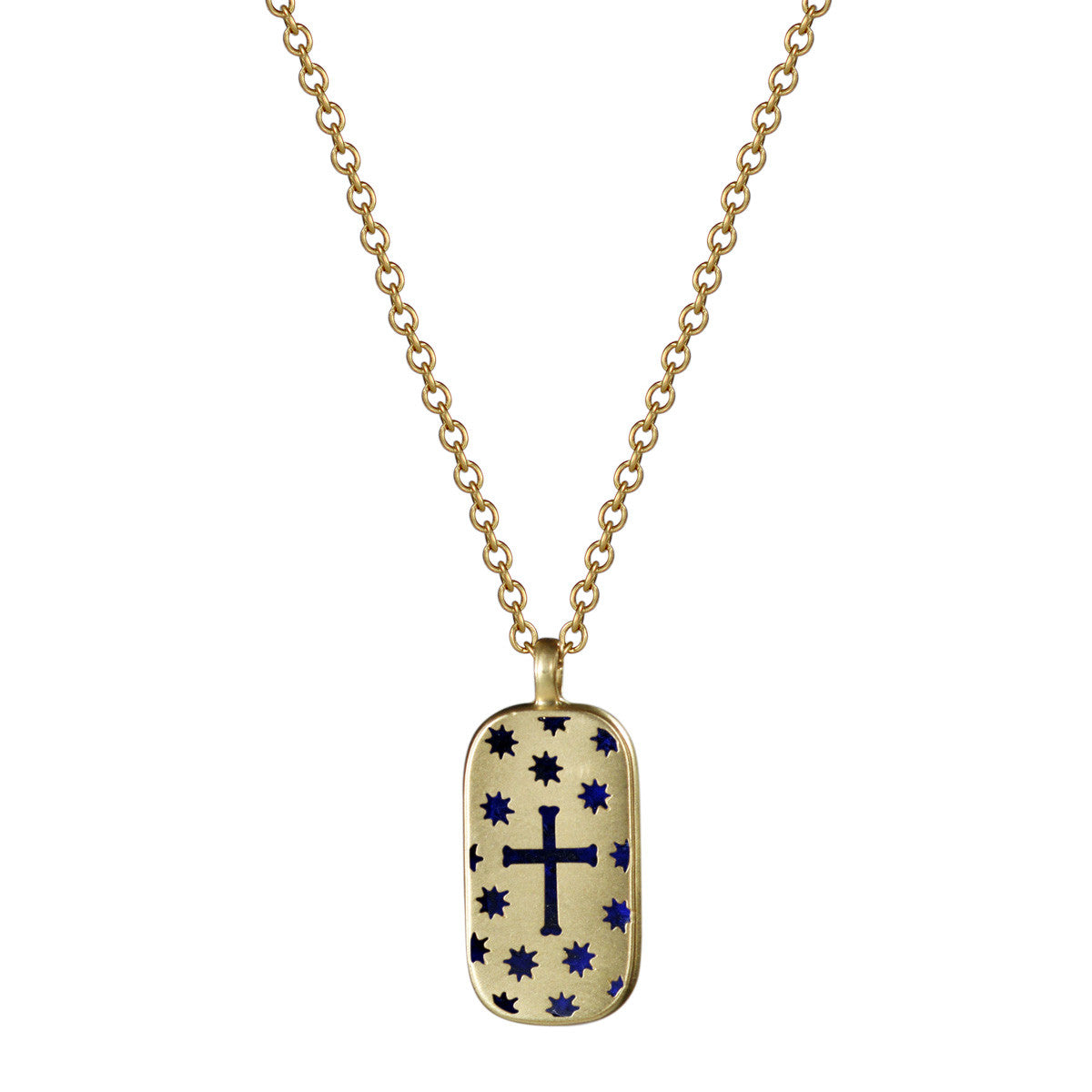 18K Gold Cross & Stars Cut Out Pendant with Lapis