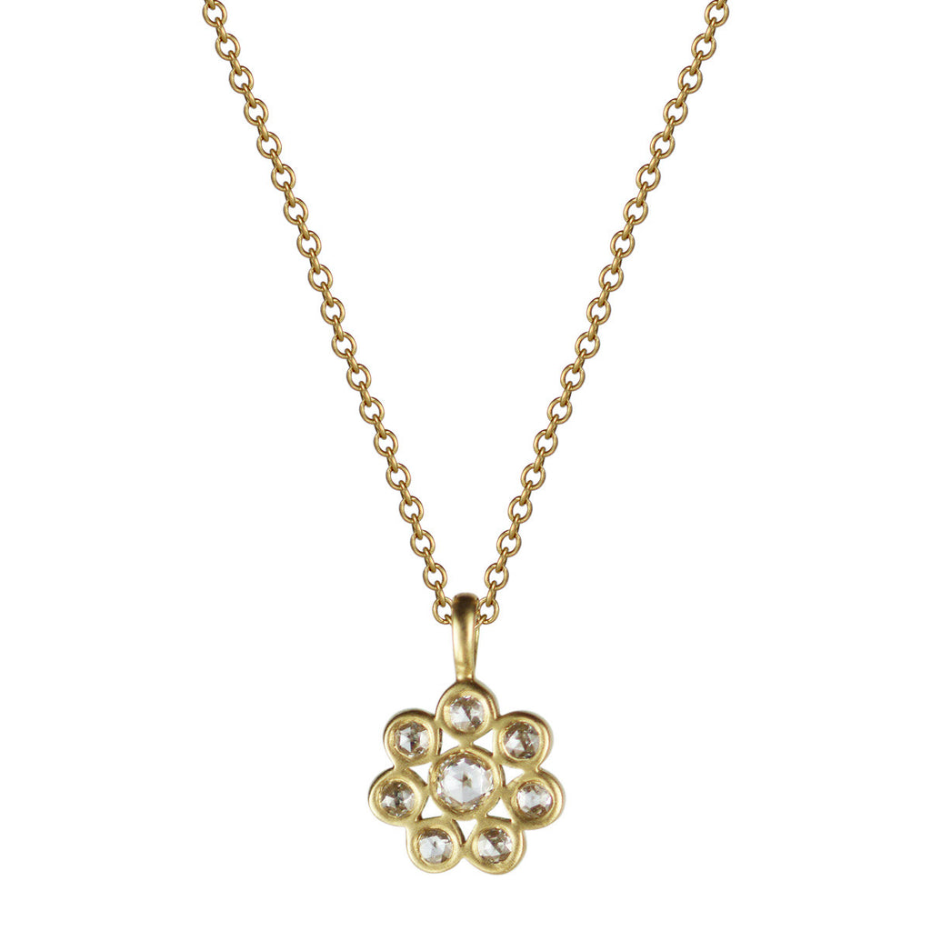 18K Gold Small Diamond Flower Pendant