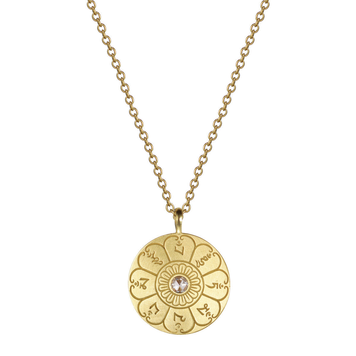 18K Gold Medium Ritual Bell Pendant with Diamond