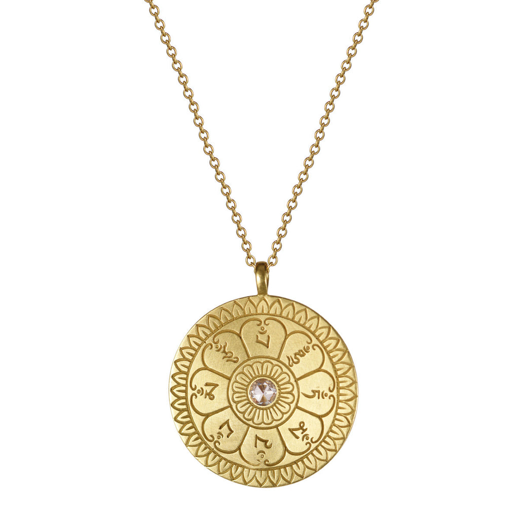 18K Gold Large Ritual Bell Pendant with Diamond