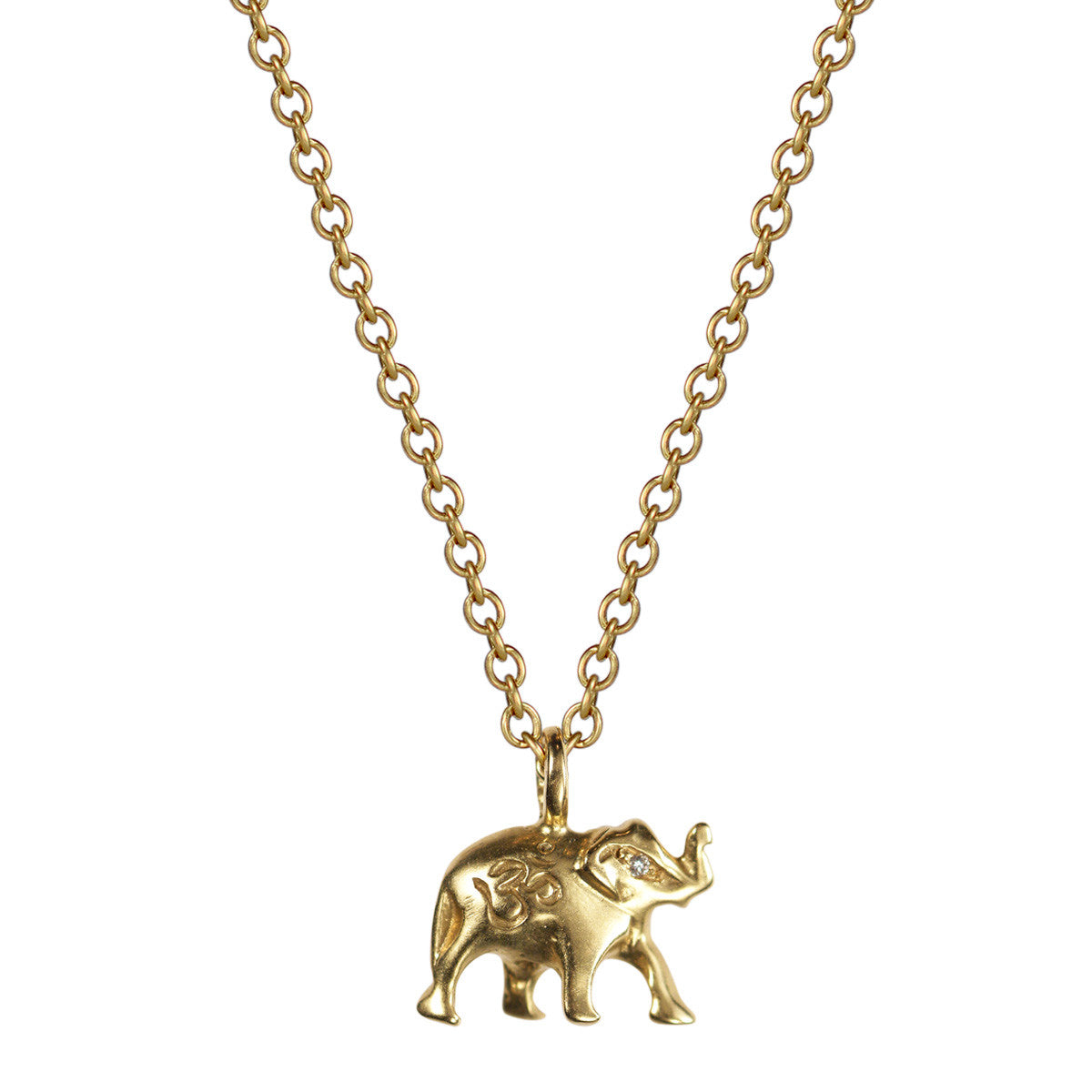18K Gold Om Elephant Pendant  with Diamond Eyes