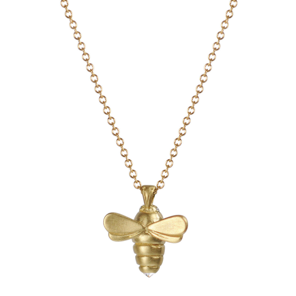 18K Gold Bumblebee Pendant with Diamond Eyes and Stinger