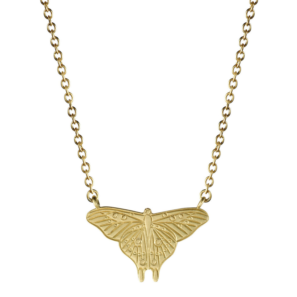 18K Gold Large Butterfly Silhouette Pendant