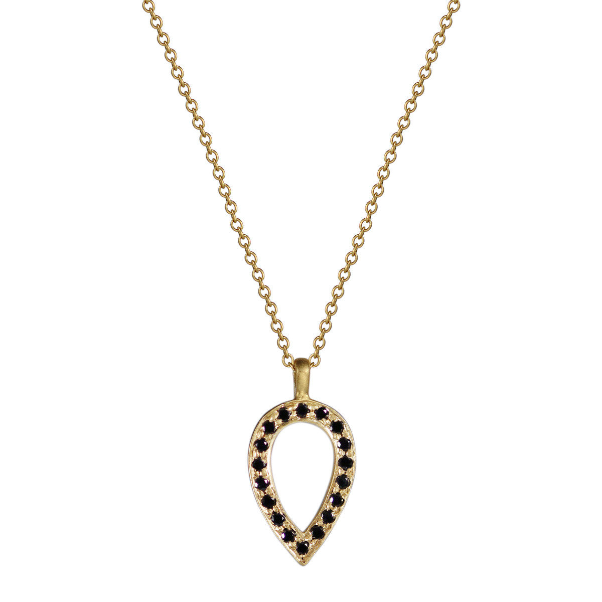 18K Gold Black Diamond Pave Teardrop Pendant