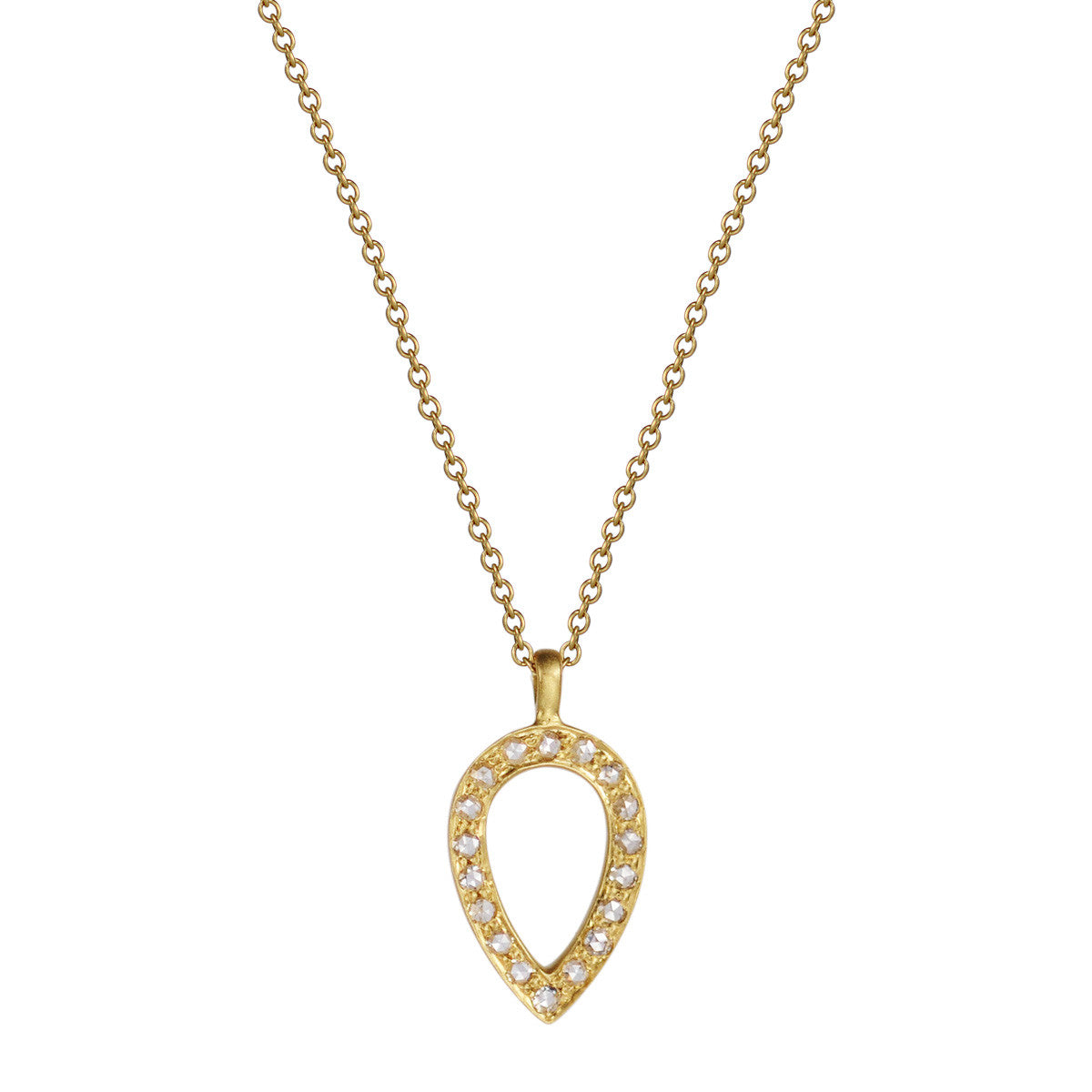 18K Gold Diamond Pave Teardrop Pendant