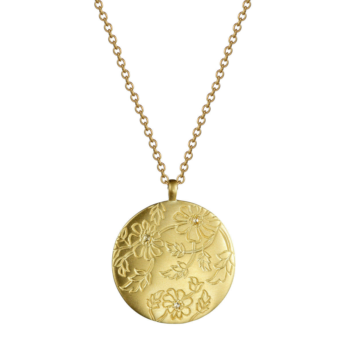 18K Gold Circle Paisley Pendant with Diamonds