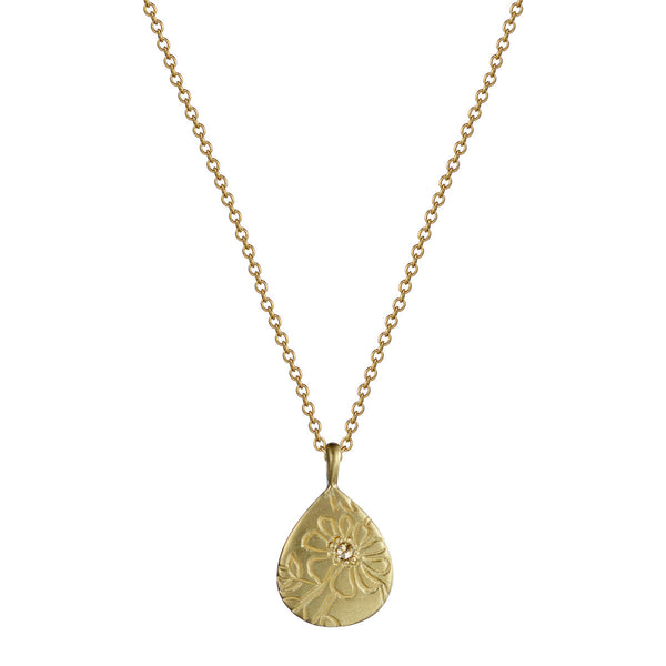 18K Gold Tiny Teardrop Paisley Pendant with Diamond