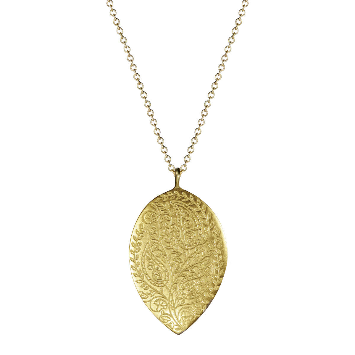 18K Gold Large Engraved Paisley Teardrop Pendant