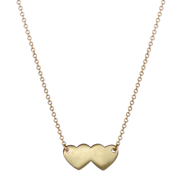 18K Gold Small Double Heart Pendant