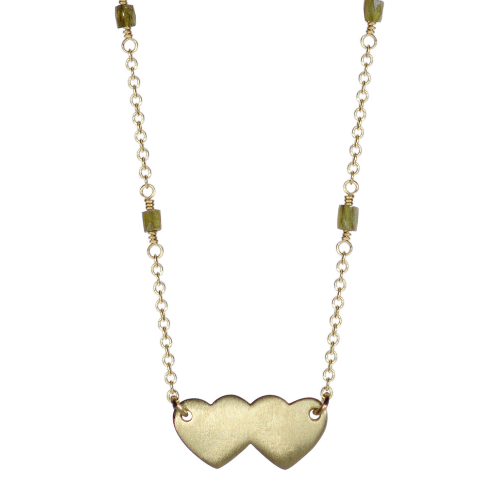 18K Gold Double Heart Pendant on Opaque Diamond Chain