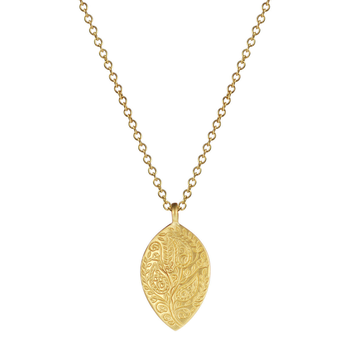 18K Gold Medium Engraved Paisley Pendant