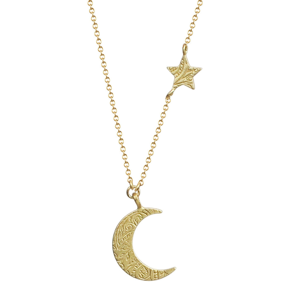 18K Gold Small Paisley Moon and Star Pendant