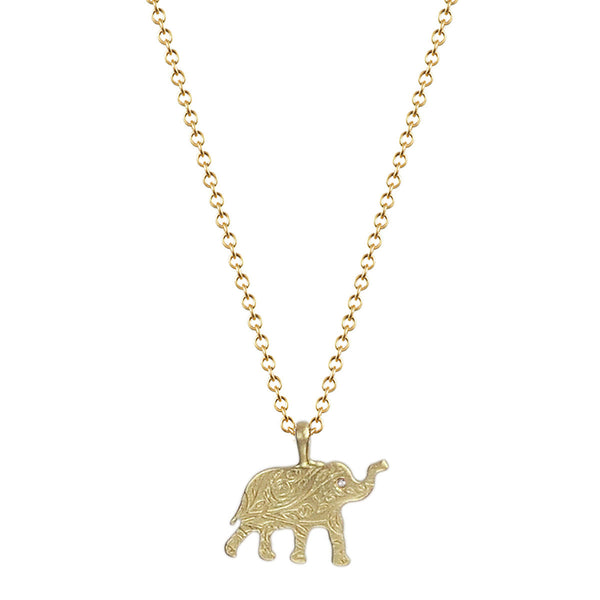 18K Gold Small Paisley Elephant Pendant with Diamond Eye