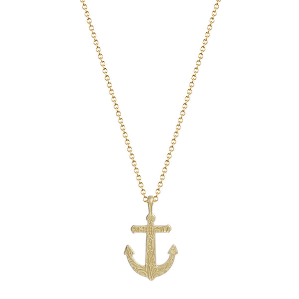 18K Gold Small Paisley Anchor Pendant