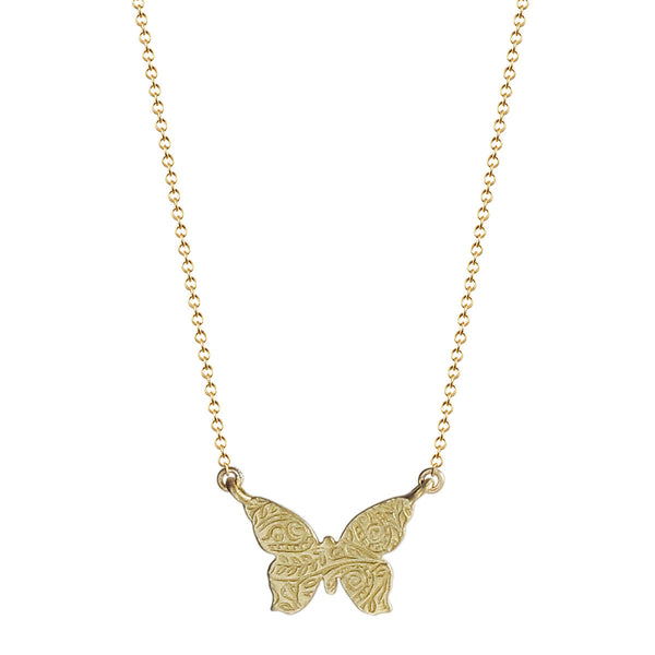 18K Gold Small Paisley Butterfly Pendant