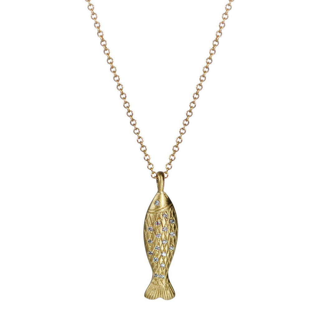 18K Gold Small Fish Pendant with Diamond Scales