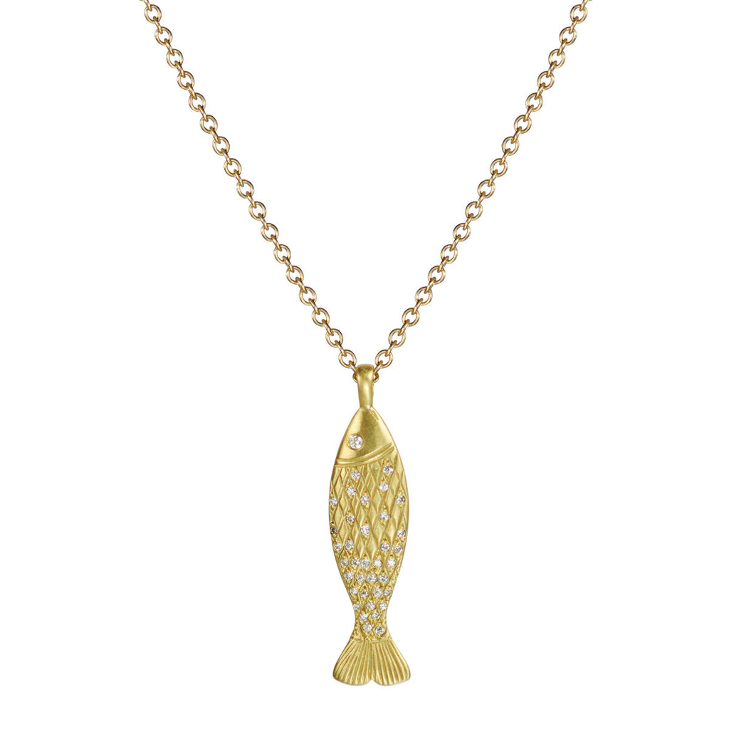 18K Gold Medium Fish Pendant with Diamond Scales