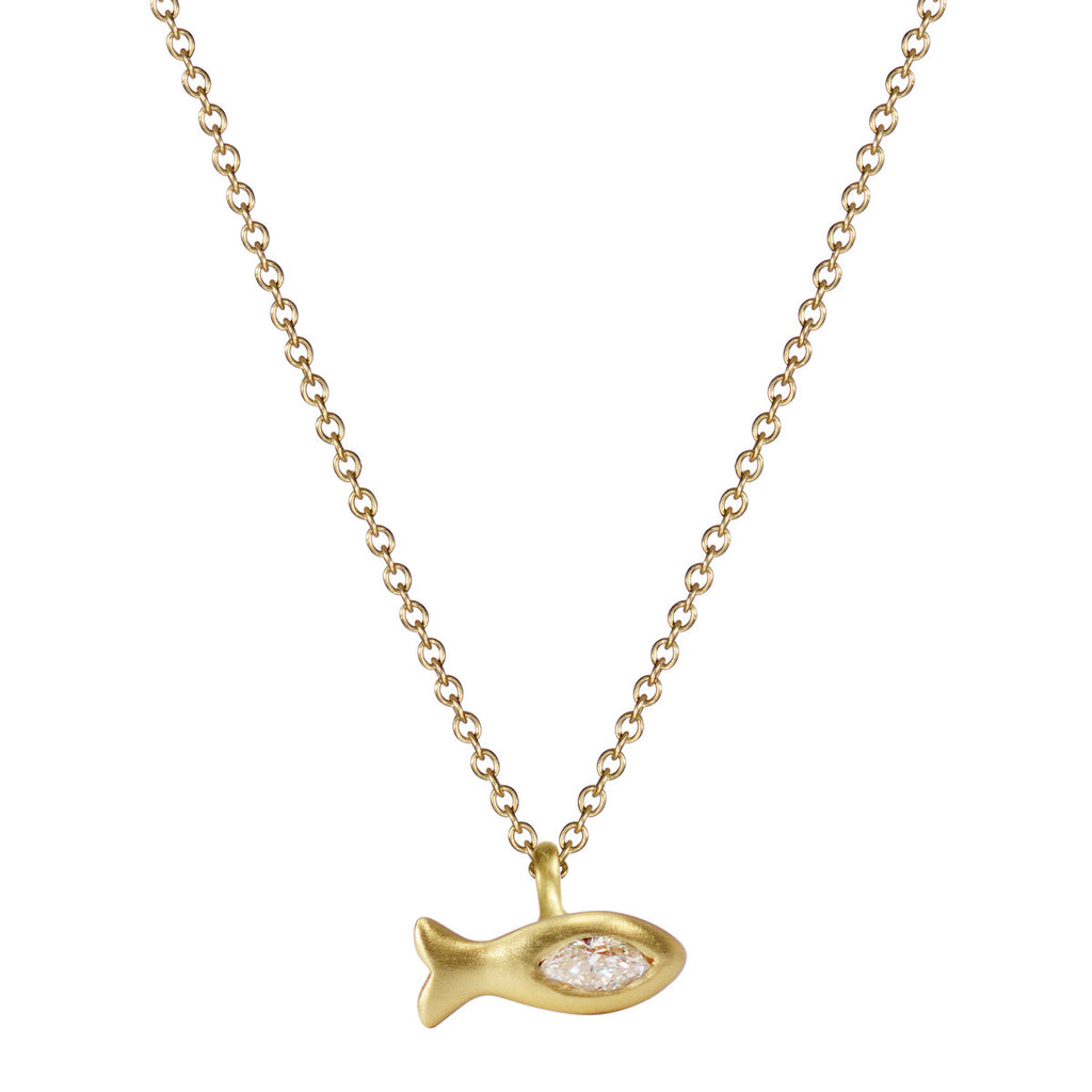 18K Gold Tiny Fish Pendant with Marquise Diamond
