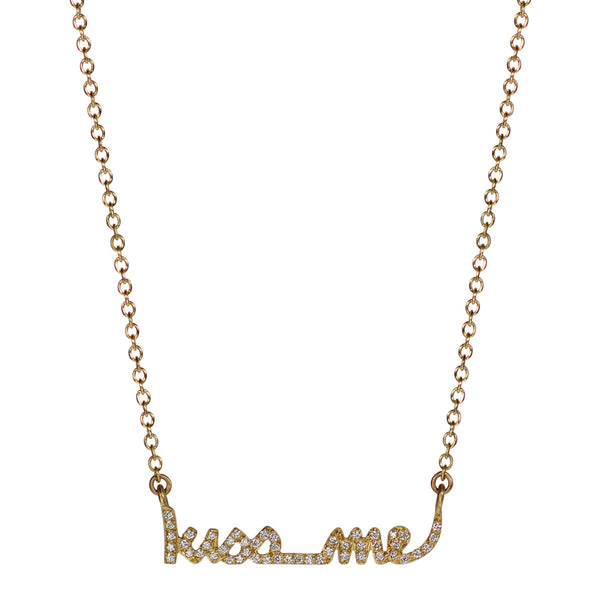"18K Gold Pave ""Kiss Me"" Pendant with Diamonds"