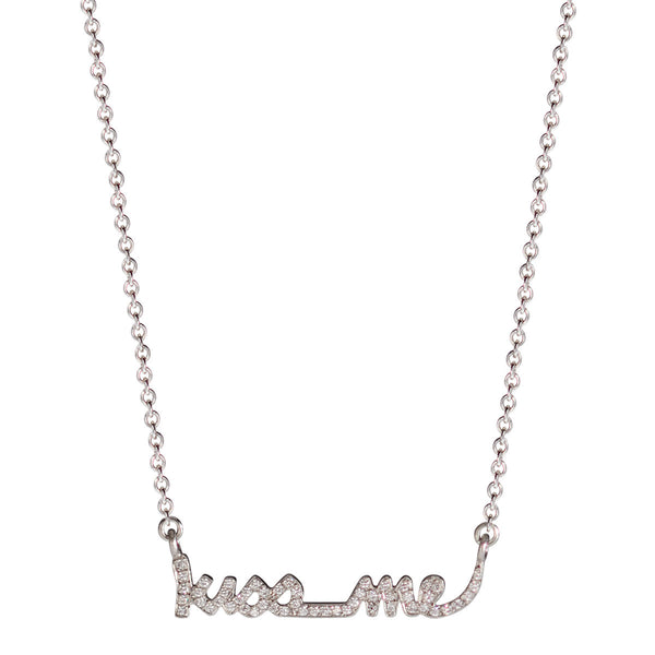 "Platinum Pave ""Kiss Me"" Pendant with Diamonds"
