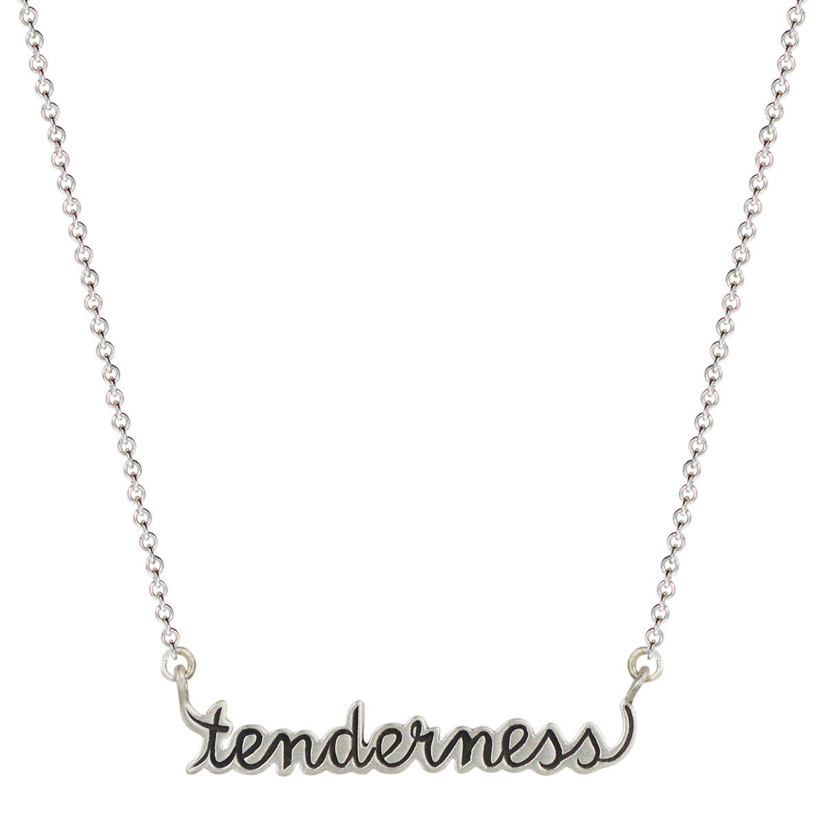 Sterling Silver 'Tenderness' Script Pendant