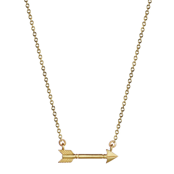 18K Gold Single Arrow Pendant