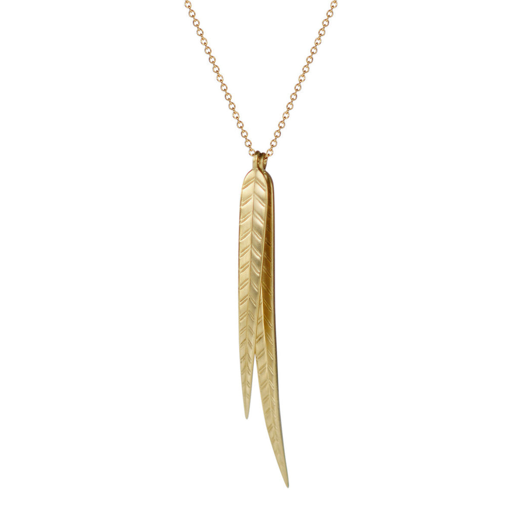 18K Gold Extra Large Double Leaf Pendant