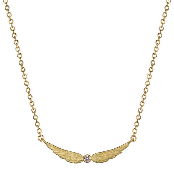 18K Gold Double Angel Wing Pendant with Diamond