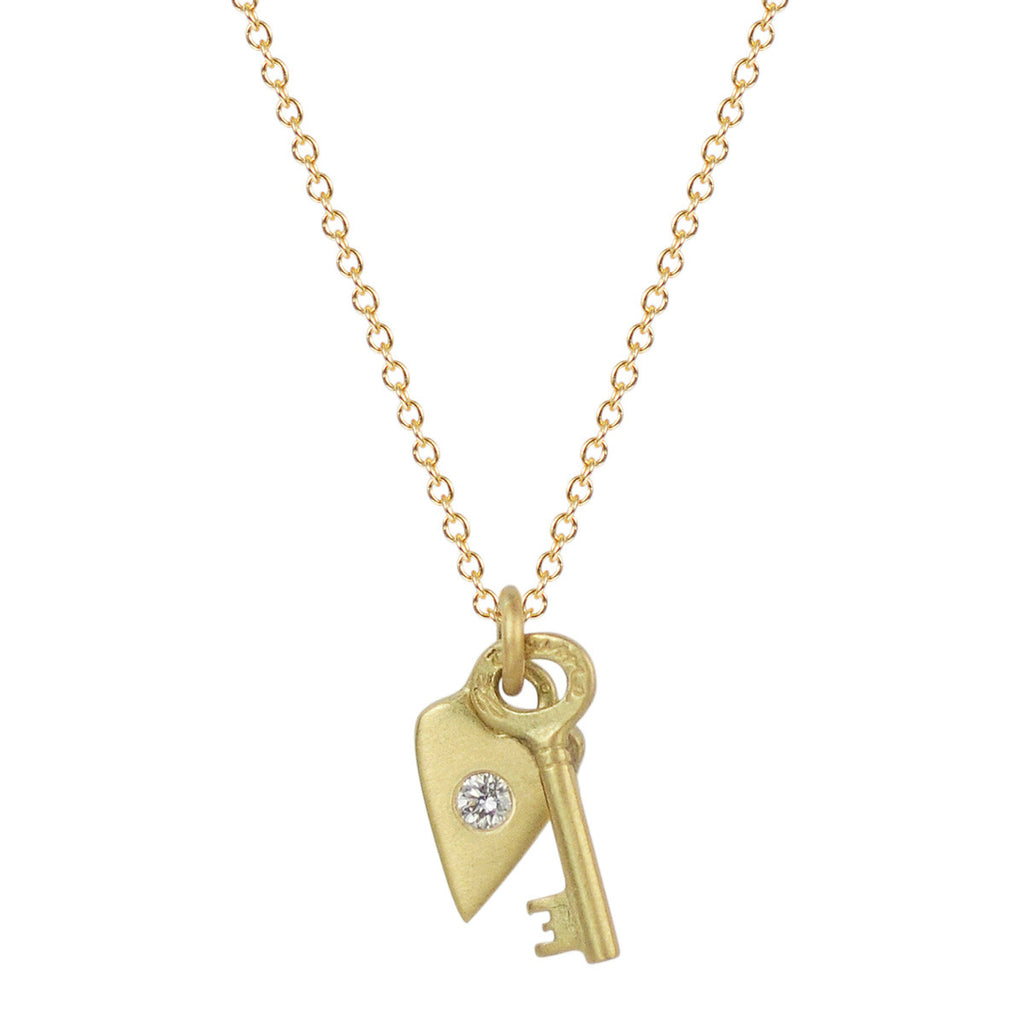 18K Gold Heart and Key Pendant with Diamond