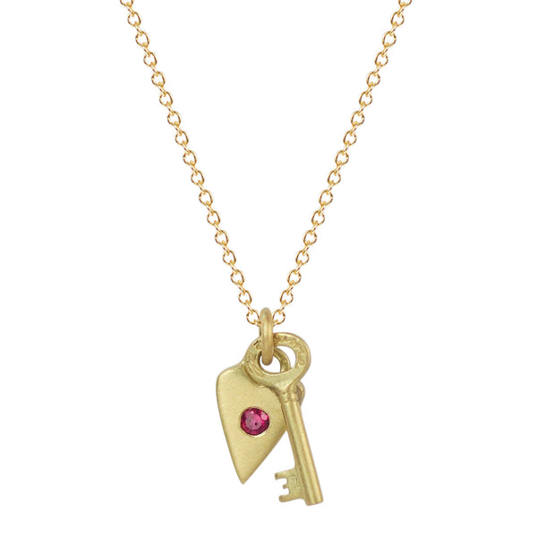 18K Gold Heart and Key Pendant with Ruby
