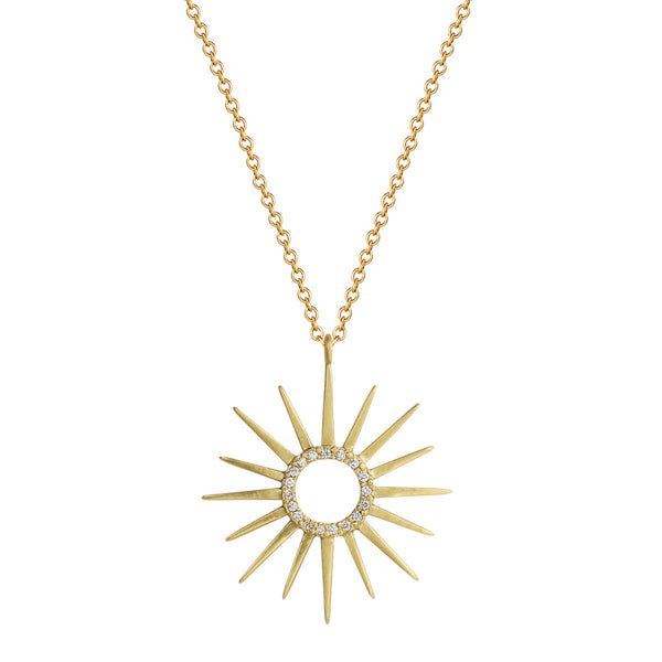 18K Gold Sun Pendant with Diamond Center