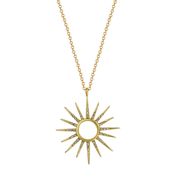 18K Gold Sun Pendant with Diamond Rays