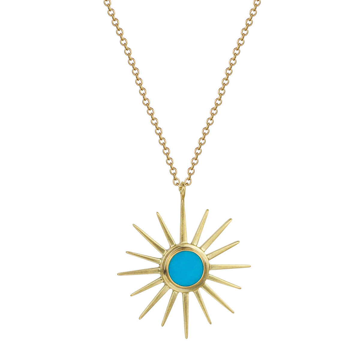 18K Gold Sun Pendant with Turquoise Center