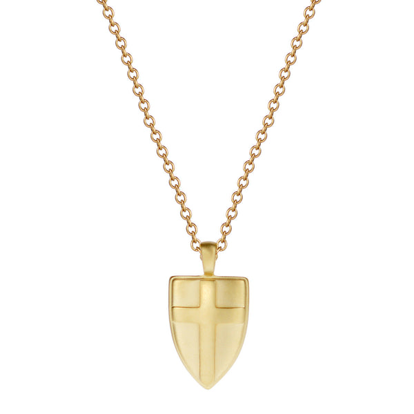 18K Gold Shield Pendant