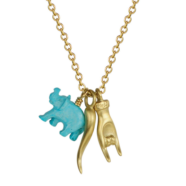 18K Gold 25th Year Anniversary Trinket Pendant with Turquoise Elephant