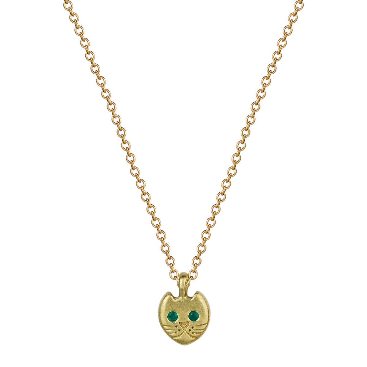 18K Gold Tiny Kitten Pendant with Emerald Eyes