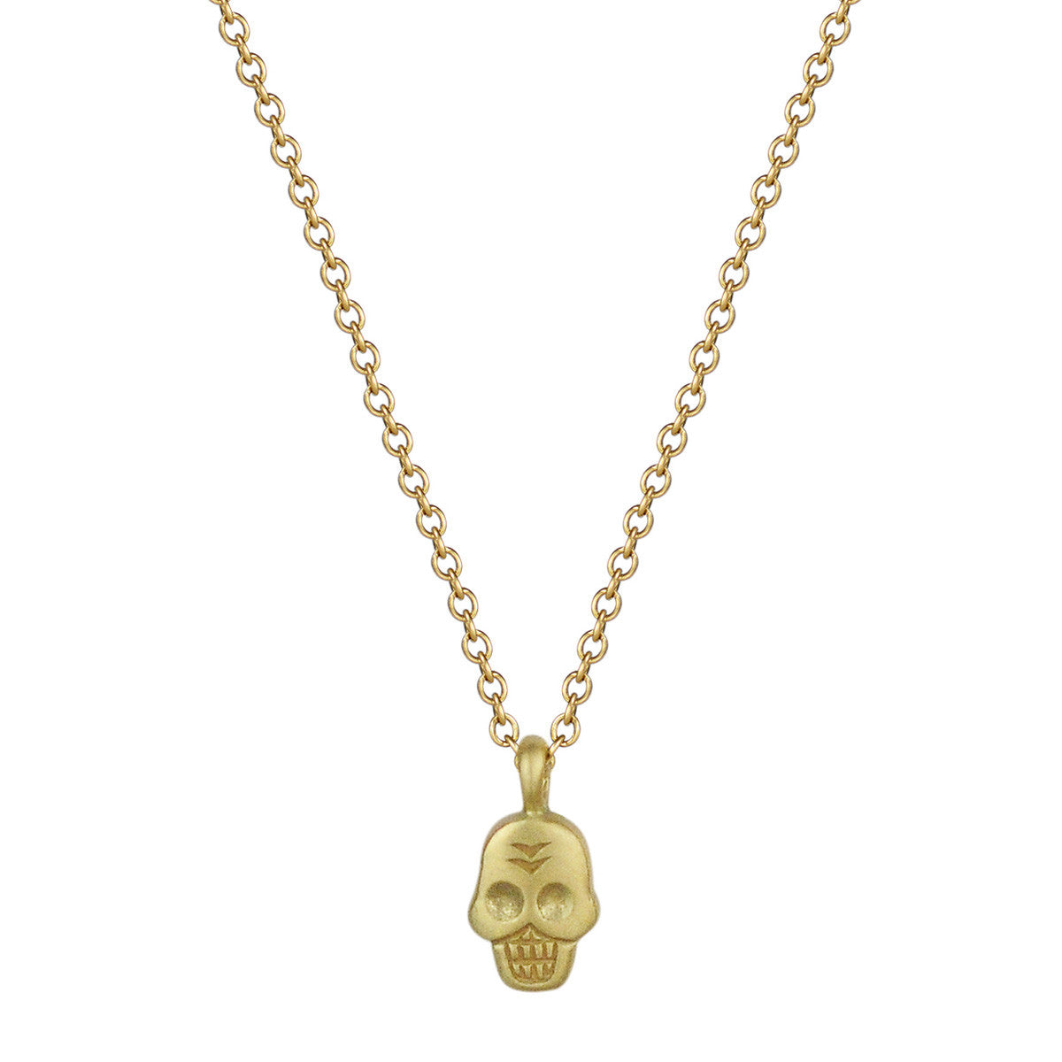 18K Gold Mini Skull Pendant