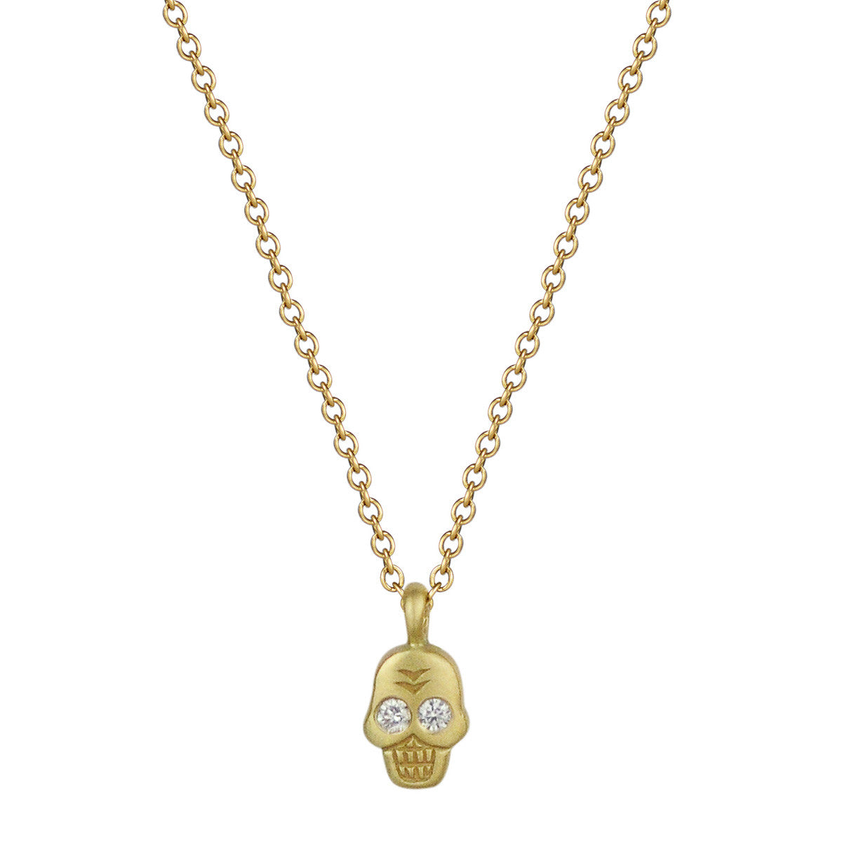 18K Gold Mini Skull Pendant with Diamond Eyes