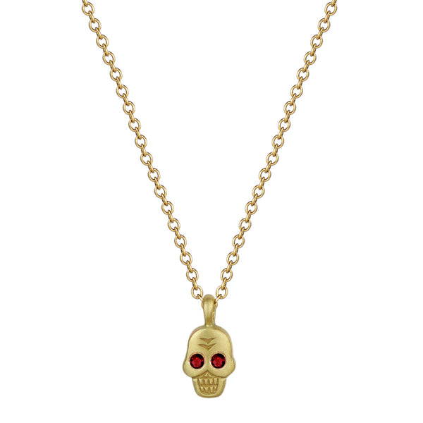 18K Gold Mini Skull Pendant with Ruby Eyes