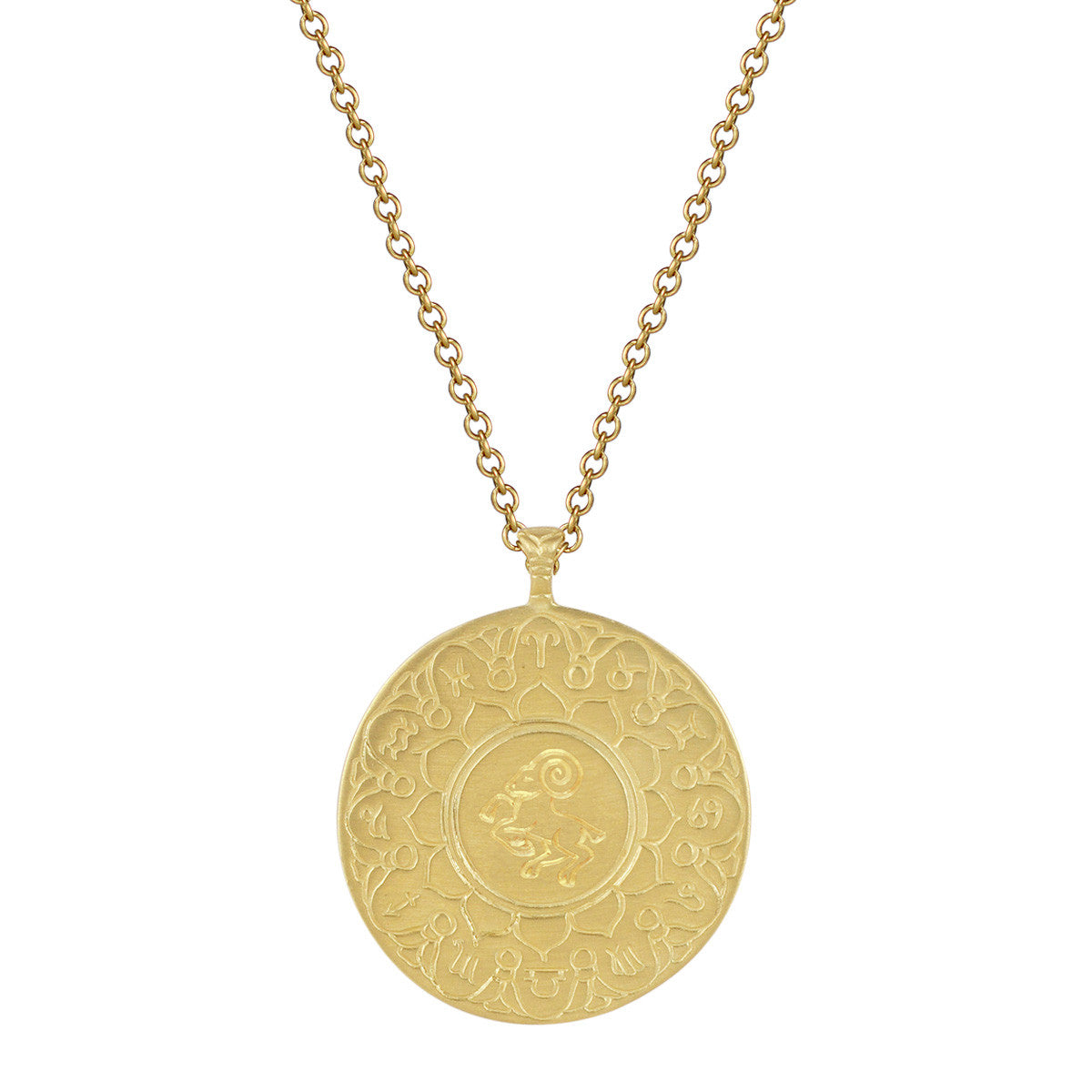 18K Gold Large Aries Astrology Pendant