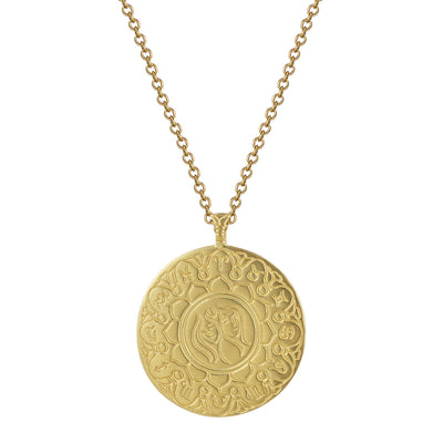 18K Gold Large Gemini Astrology Pendant