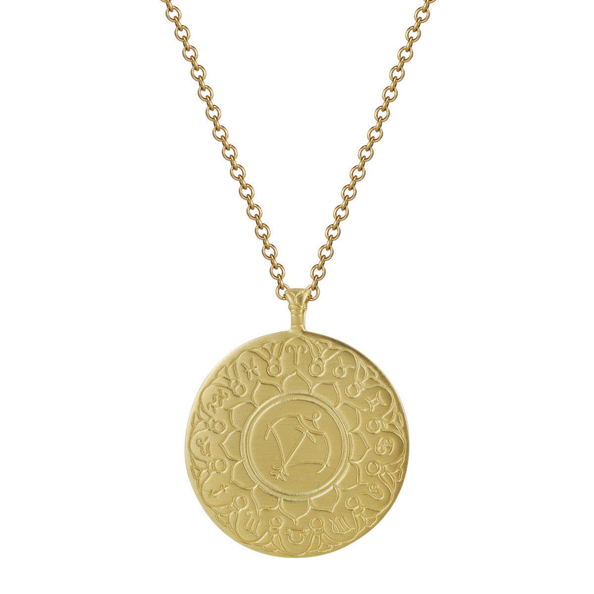 18K Gold Large Sagittarius Astrology Pendant