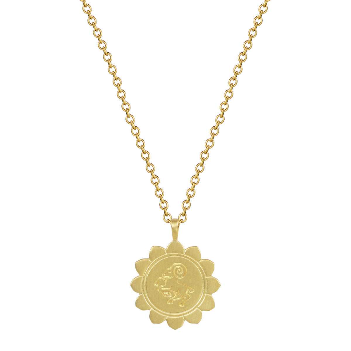 18K Gold Medium Lotus Aries Astrology Pendant