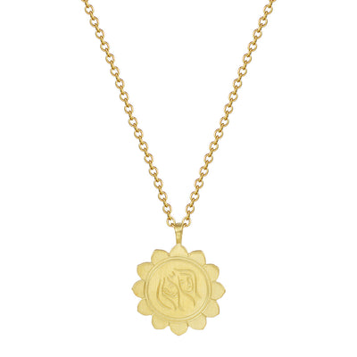 18K Gold Medium Lotus Gemini Astrology Pendant