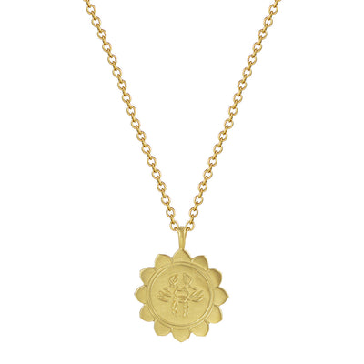 18K Gold Medium Lotus Cancer Astrology Pendant