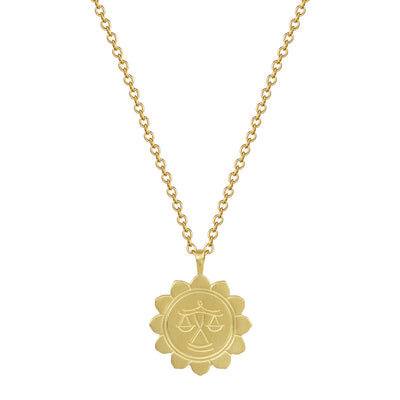 18K Gold Medium Lotus Libra Astrology Pendant