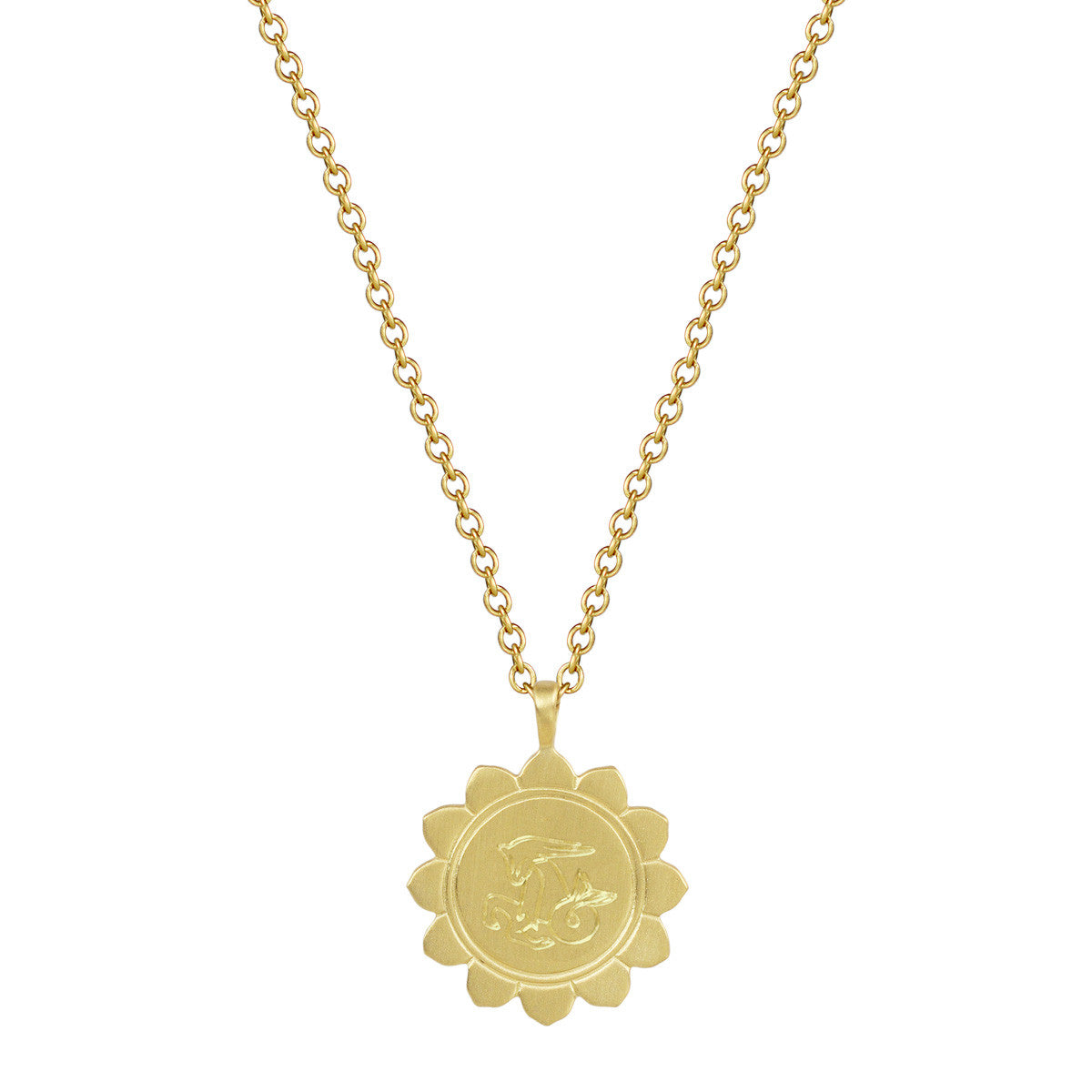 18K Gold Medium Lotus Capricorn Astrology Pendant